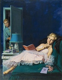 girl writing in diary after the dance, mother at door (illus.) by morgan kane