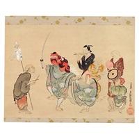 shogatsu shishimai zu by okumura masanobu