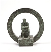 seated man in a disc by robin buick