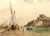 entering polperro harbor by jack merriott