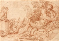 le repos d'hercule (after carrache) by nicolas mignard