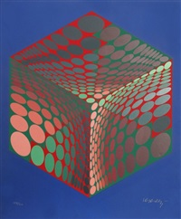 parmenide (red, green, & blue) by victor vasarely