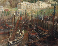 ships in the harbour of polperro, united kingdom by hendrik jan wolter