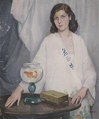 retrato de dama con pecera by manuel de azpiroz