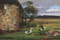 danish summer idyll with geese near a farmhouse by hans ludvig smidth
