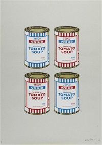 4 soup cans - red and blue on grey by banksy