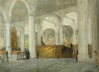 interior of the grote kerk, the hague by jacobus cornelis wyand cossaar