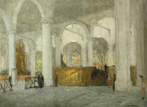 interior of the grote kerk the hague by jacobus cornelis wyand cossaar
