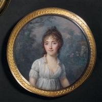 portrait de jeune femme en robe de voile blanc décolletée, vue dans un jardin fleuri et vase de pierre by lié-louis périn-salbreux