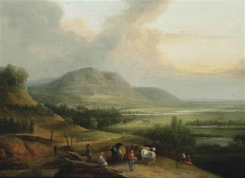 an extensive mountainous landscape with drovers and their herd on a track by lucas van uden