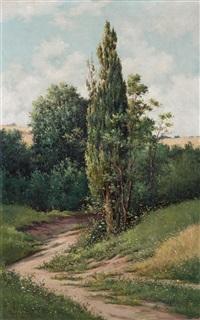 paisaje con sendero y ciprés by serafín avendaño