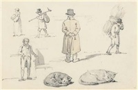 a sheet of figure and animals studies, including a man looking over a wall and cats sleeping by william alexander