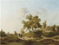 travellers approaching a village by anton albers the elder