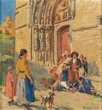 a la puerta de la iglesia by marceliano santa maría