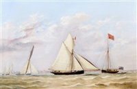 the cutter vision winning the annual royal mersery yacht club's grand challenge cup in 1847 by henry melling