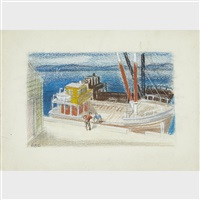 a group of three drawings: boat at the quay; fisherman on the slipway; seated woman and sailboats (3 works) by eric e. goldberg