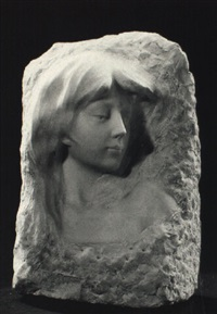 bust of girl, high relief by g verona