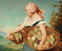 girl with two fruit baskets by adolf ziegler
