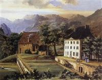vue du château de cornage (près de vizille) by bigot de la touanne