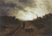 driving home the flock by james aumonier