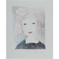 petite fille a la rose. (la vie de château, pl. 5) by marie laurencin