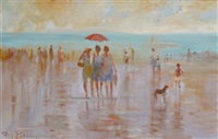 figures on a beach with a red umbrella by roy petley