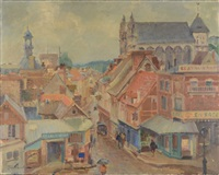 city scene (possibly quebec) by leon gordon