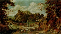 an extensive wooded landscape with pilgrims worshipping a miraculous crucifix... by pieter van der hulst