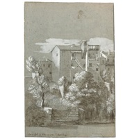 a view of houses near the church of s. bartolomeo on the isola tiberina, rome by etienne jeaurat