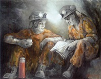 two miners taking a break by valerie ganz