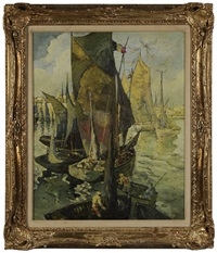 sailboats, concarneau by wallace bassford