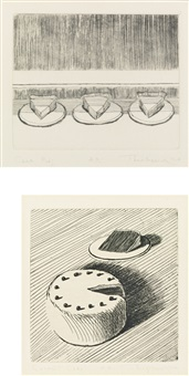 case pies; coconut cake (set of 2) by wayne thiebaud