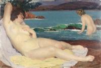 reclining nude by louis françois biloul