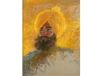 le sikh - a nobleman in a yellow turban by lucien lévy-dhurmer