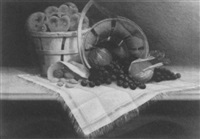 tabletop still life with fruits and nuts by thomas nash