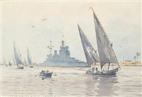 hms howe in the suez canal by roland langmaid