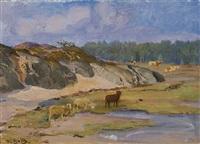sheep and cows on a meadow by venny soldan-brofeldt