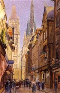 la cathedrale vue de la rue du gros-horloge by hippolyte madelaine
