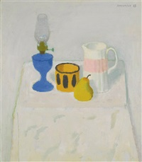 white still life with blue lamp by alberto morrocco