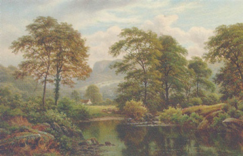 a wooded river landscape by thomas spinks