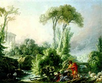 landscape with peasants resting and playing in a stream and medieval ruins by françois boucher the younger