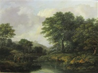 a wooded river landscape with anglers on a bank by ramsay richard reinagle