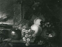 still life with an apple, grapes, peaches, a bird's nest  and a butterfly on a ledge by william h. ward