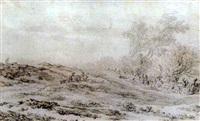a dune landscape with figures and animals by laurens vincentsz van der vinne the elder