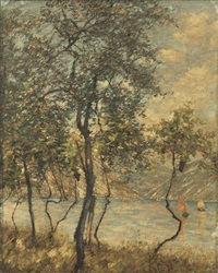 a brescian lake; limone, lake garda by henry herbert la thangue