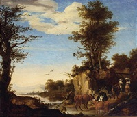 a river landscape with a shepherd with his herd on a path conversing with a woman by ary de vois