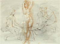 life class drawing by louis kahan