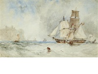 shipping off whitby by george weatherill