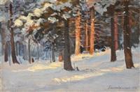 pine forest in winter by georgiy zakharovich bashinzhagyan