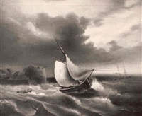 un bateau dans une mer forte au large d'une cote et d'un  port by theophil (gottlieb) gassen